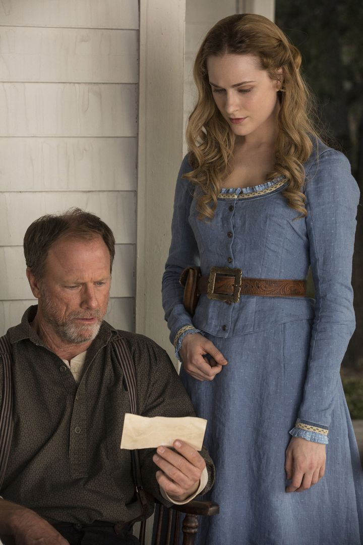 "Louis Herthum as Peter Abernathy and Evan Rachel Wood as Dolores Abernathy in ""Westworld."""