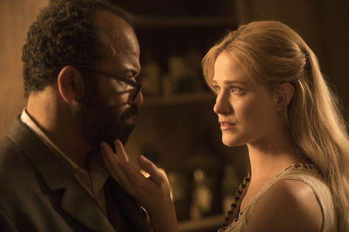 Jeffrey Wright as Bernard and Evan Rachel Wood as Dolores.