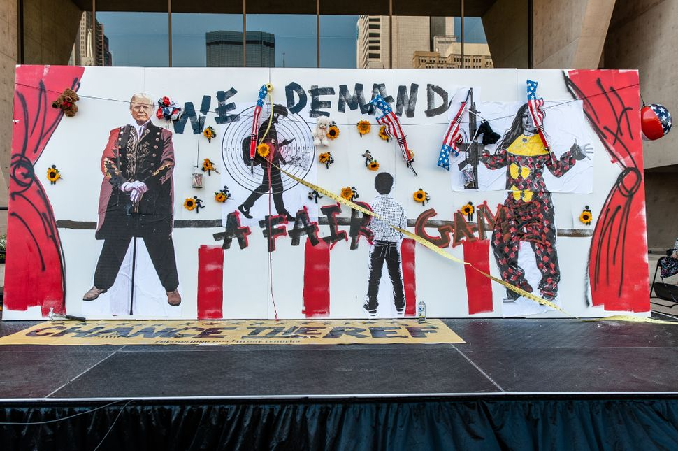 A mural on display at the Rally 4 Reform on Saturday commemorates victims of the Parkland, Florida, school shooting.