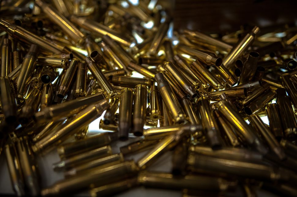 A display of shell casings on the expo floor Friday.