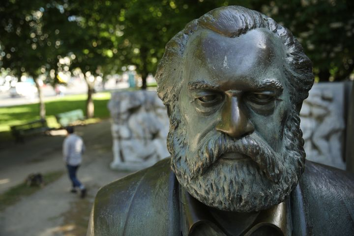 A statue of German philosopher and revolutionary Karl Marx stands in a public park in Berlin on May 4.