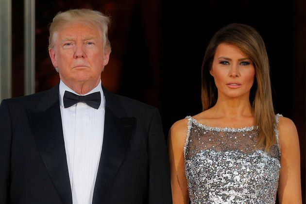 President Donald Trump and first lady Melania Trump at the White House state dinner for French President...