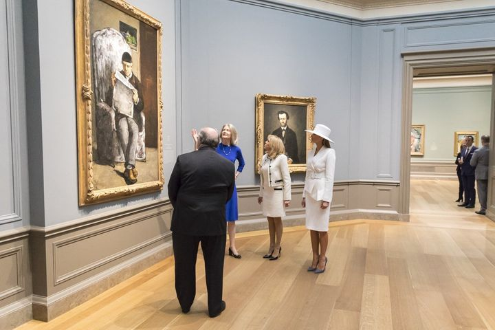 Trump with her French counterpart, Brigitte Macron, visiting the National Gallery of Art in Washington.