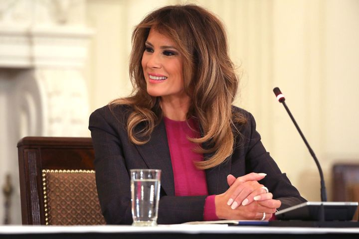 Melania Trump hosts a cyberbullying roundtable discussion with tech industry officials on March 20 at the White House.