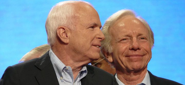 Sen. Joe Lieberman (right) endorsed and campaigned for Sen. John McCain during the 2008 presidential election.