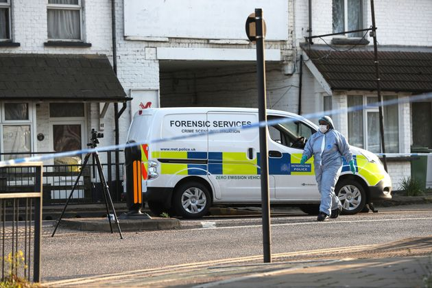 Police at Palmerston Road, Wealdstone, in north-west London, following two shootings at two locations in close proximity, after two boys, aged 12 and 15, were shot.