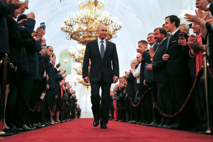 Vladimir Putin's inauguration for a fourth term as Russian president came two months after more than 70 percent of vote