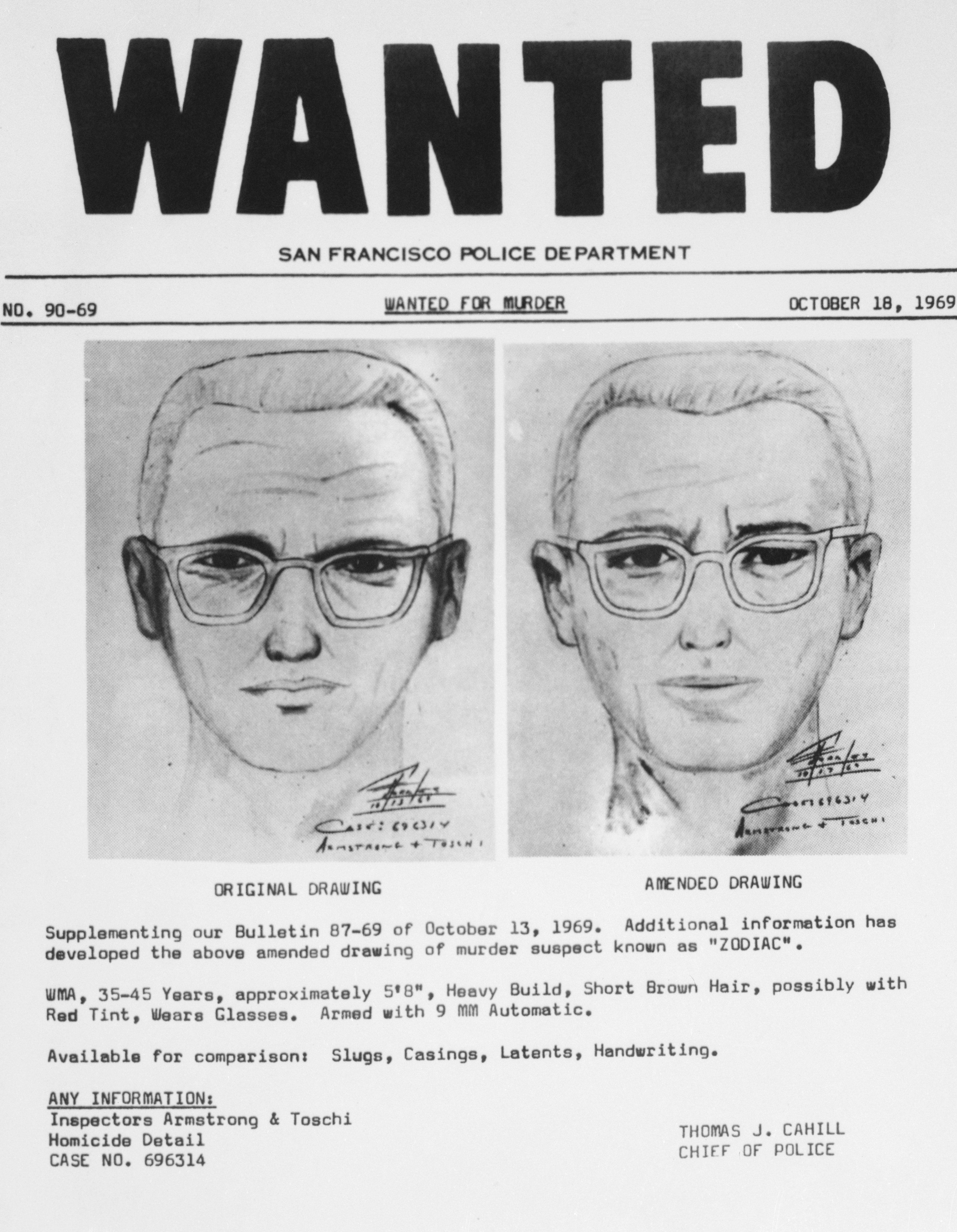 (Original Caption) San Francisco: San Francisco police circulated this composite of the Bay Area's 'Zodiac' killer. At left is a drawing from witnesses to slaying of a cab driver in San Francisco. The amended drawing on the right was based on further questioning of the witnesses. The suspect is also linked with four other slaying in Napa And Vallejo, California.