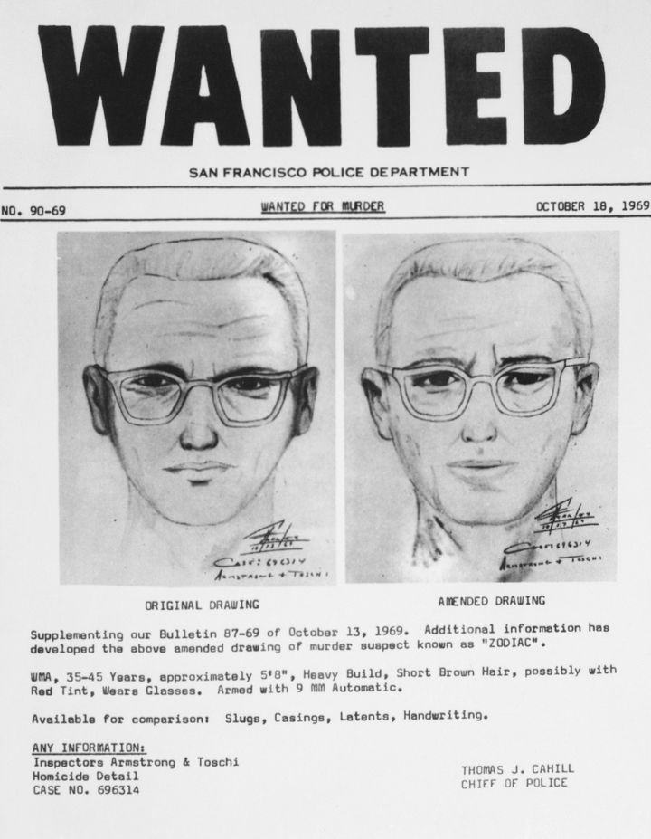San Francisco policehad circulated this composite of the Zodiac Killer. At left is a drawing from witnesses in the slay