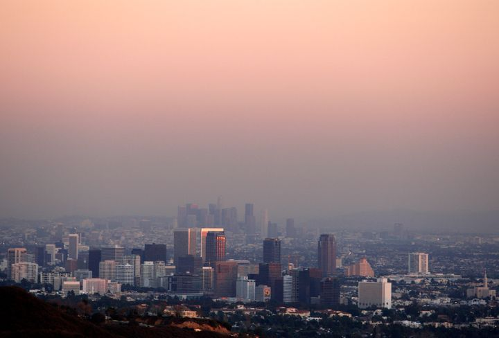 Smog hovers over Los Angeles in 2007.
