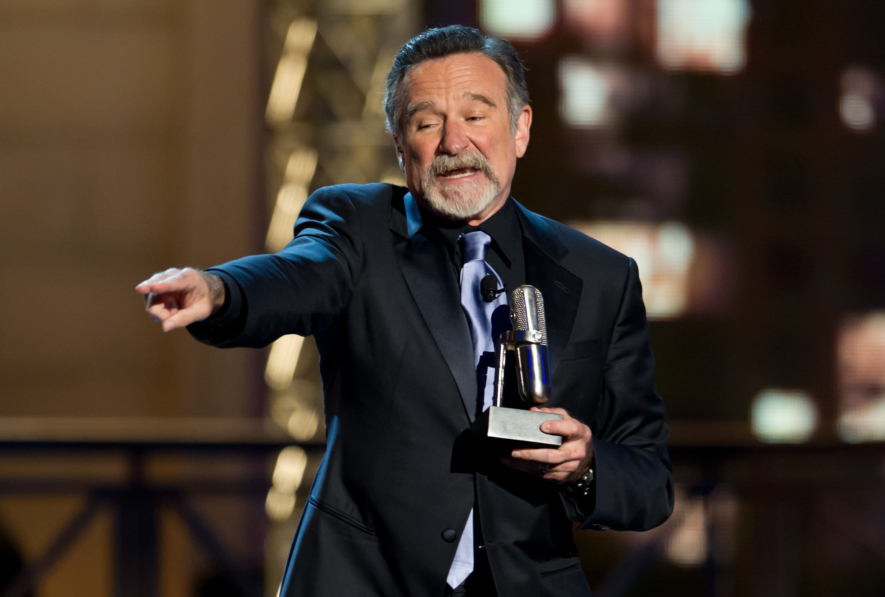 NEW YORK, NY - APRIL 28:  Comedian Robin Williams accepts an award onstage at The Comedy Awards 2012 at Hammerstein Ballroom on April 28, 2012 in New York City.  (Photo by Gilbert Carrasquillo/FilmMagic)