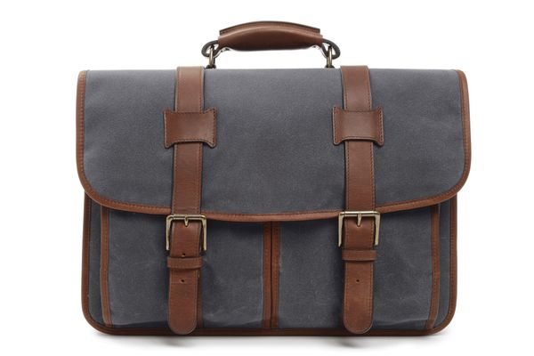This professional messenger style briefcase is constructed with water-resistant waxed canvas and includes a removable, adjust
