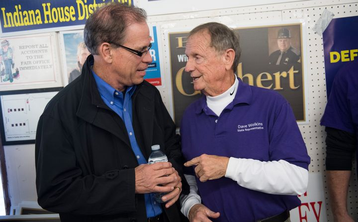 Indiana Republican Mike Braun, left, has branded himself as an outsider businessman — just like Trump.