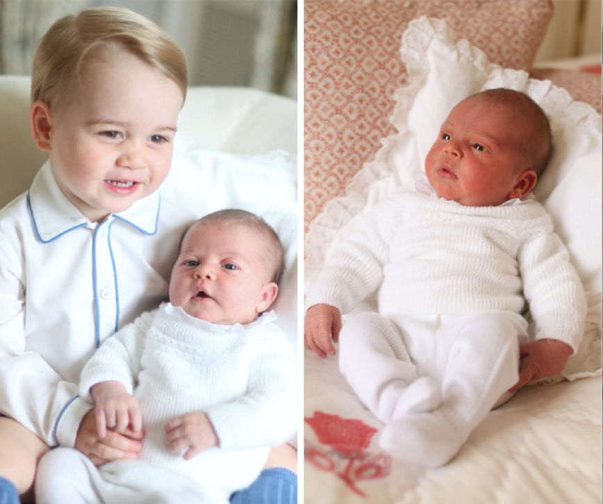 Prince Louis cradled by Princess Charlotte in first official pictures