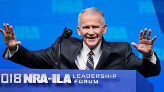 US Marine Corps Lt. Col. (Ret.) Oliver North speaks at an NRA convention in Dallas, Texas, U.S. May 4, 2018. REUTERS/Lucas Jackson