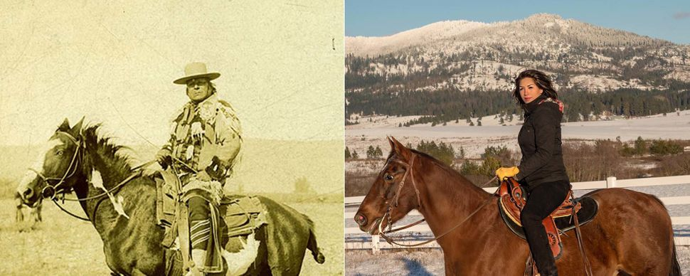 On the right, Jordan. On the left, in 1895, her great-grandfather Chief Moses, head chief of the Columbia band of N
