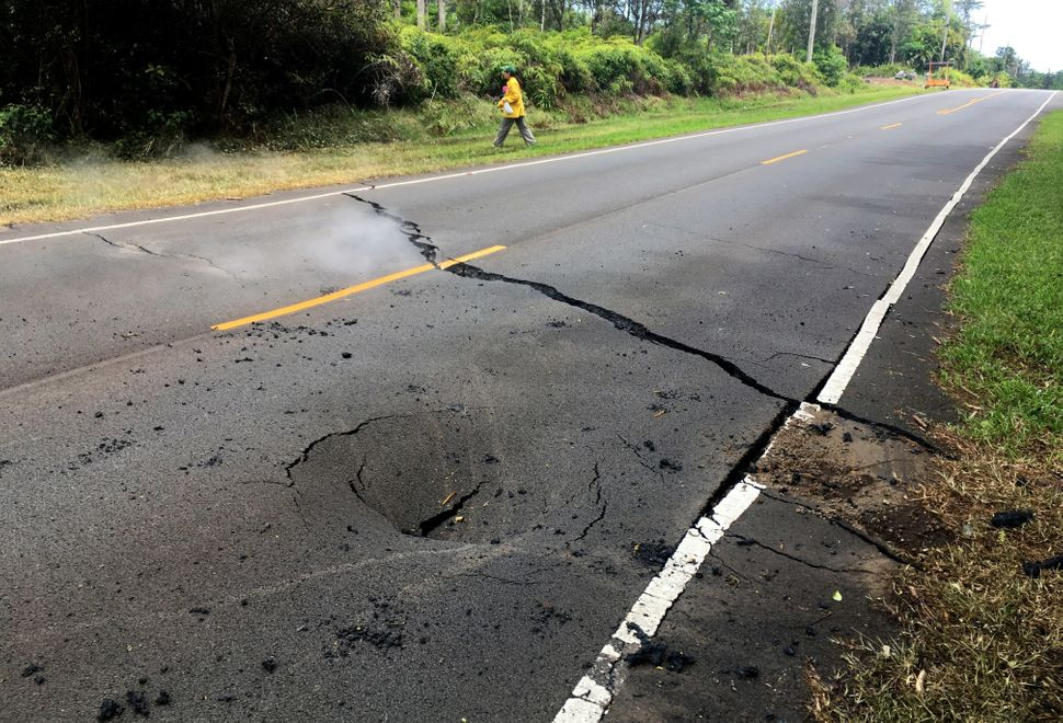 A crack opened on Pahoa's Pohoiki Road on Saturday.