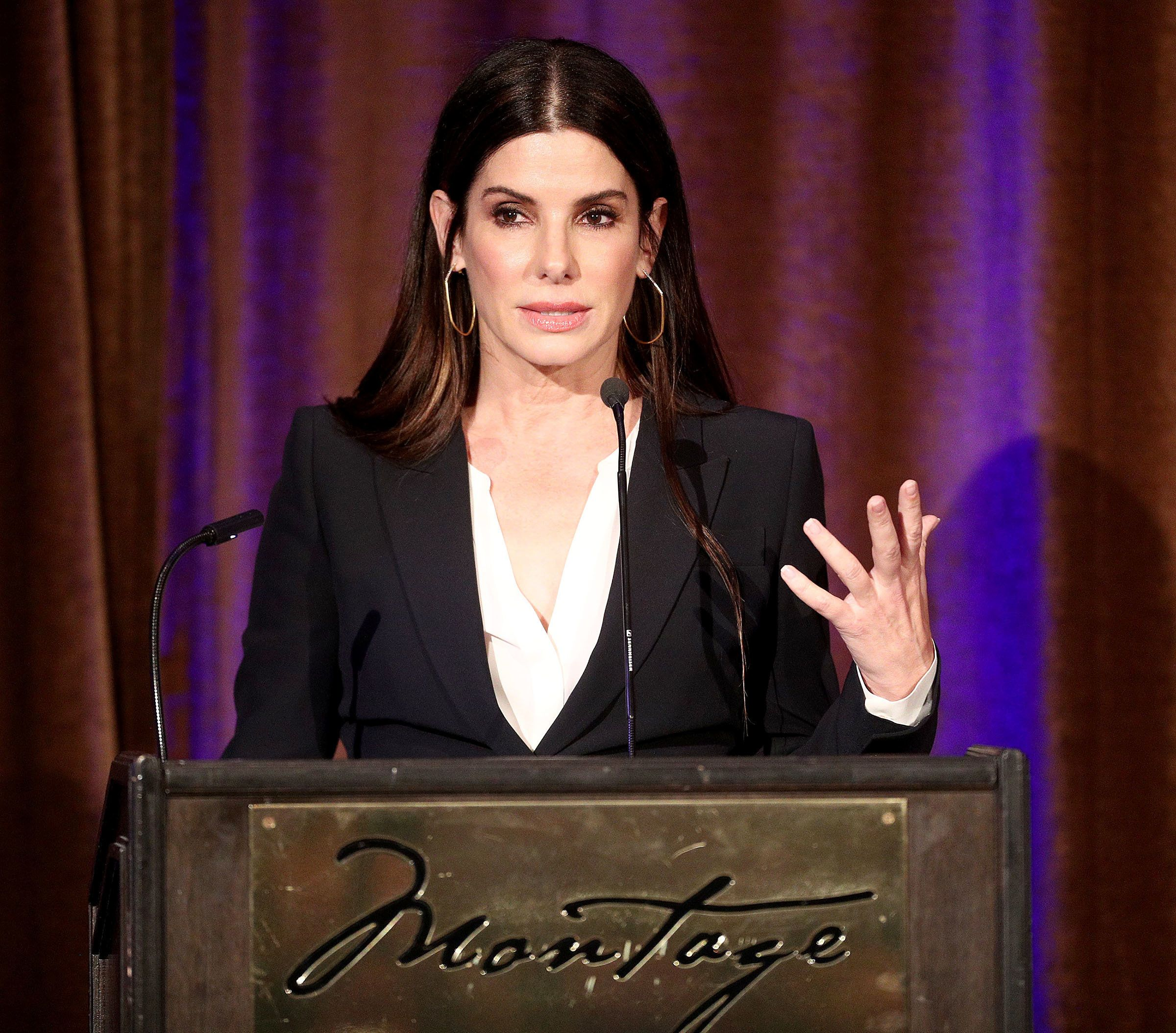 BEVERLY HILLS, CA - MAY 03: Actress Sandra Bullock speaks during the Beverly Hills Bar Association's 2018 Entertainment Lawyer of the Year Dinner at the Montage Beverly Hills on May 3, 2018 in Beverly Hills, California.  (Photo by Frederick M. Brown/Getty Images)
