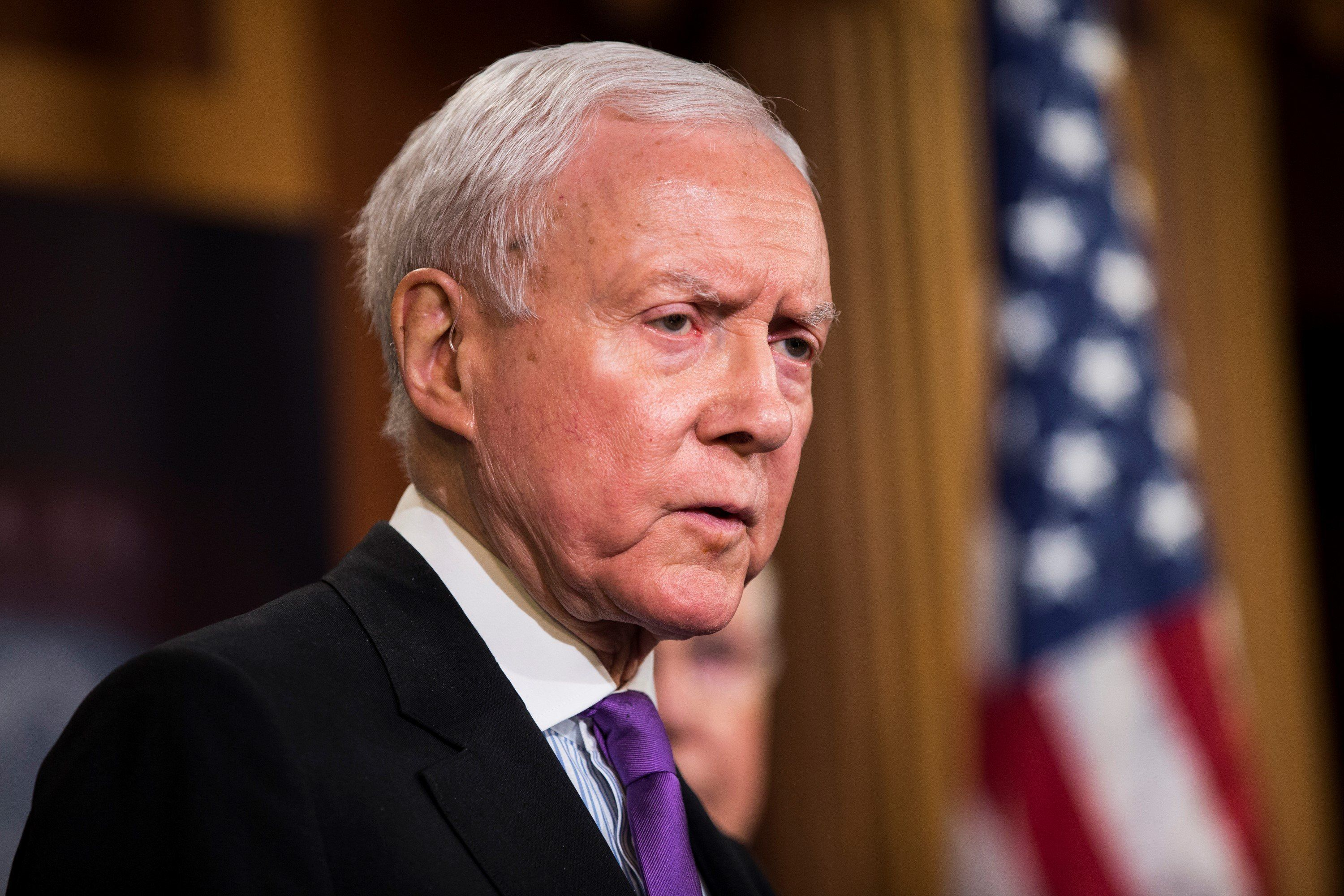 WASHINGTON, USA - FEBRUARY 11: Senator Orrin Hatch speaks during a press conference on the Internet Tax Ban and Customs Report in Washington, USA on February 11, 2016. (Photo by Samuel Corum/Anadolu Agency/Getty Images)