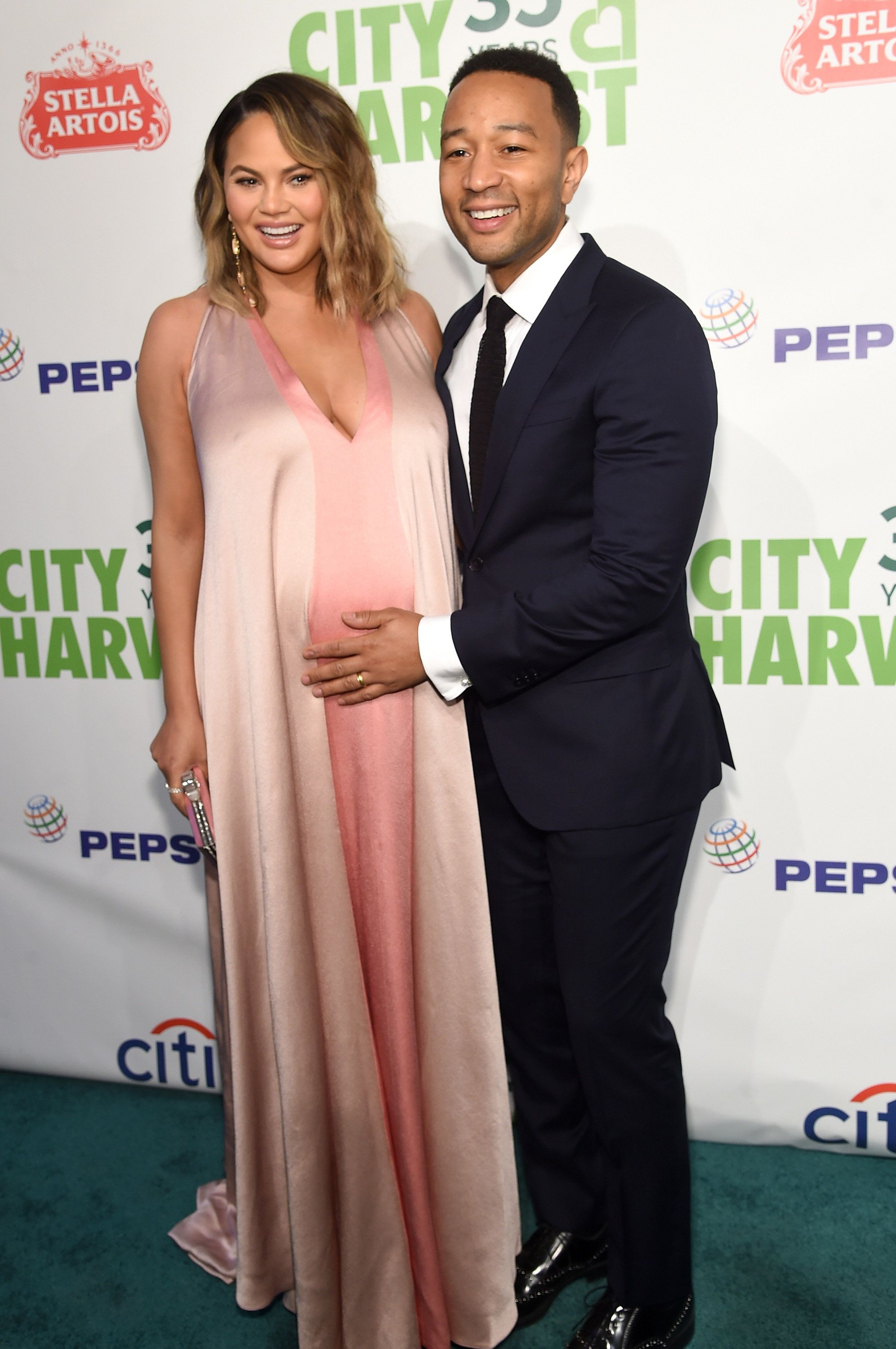 NEW YORK, NY - APRIL 24:  Chrissy Teigen and John Legend attend City Harvest's 35th Anniversary Gala at Cipriani 42nd Street on April 24, 2018 in New York City.  (Photo by Jamie McCarthy/Getty Images for City Harvest)