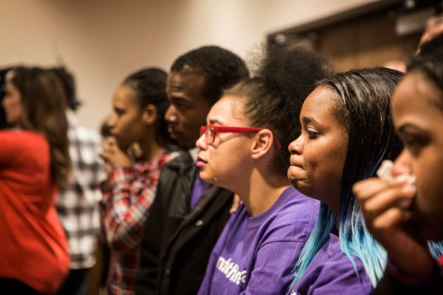 Family and supporters of Bresha Meadows, a teen who killed her allegedly abusive father, listen...