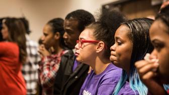 WARREN, OH - JANUARY 20:  Family and supporters of Bresha Meadows, a juvenile accused of killing her father, listen during a court hearing in Warren, Ohio on January 20, 2016. (Photo by Melissa Jeltsen/Huffington Post) *** Local Caption ***