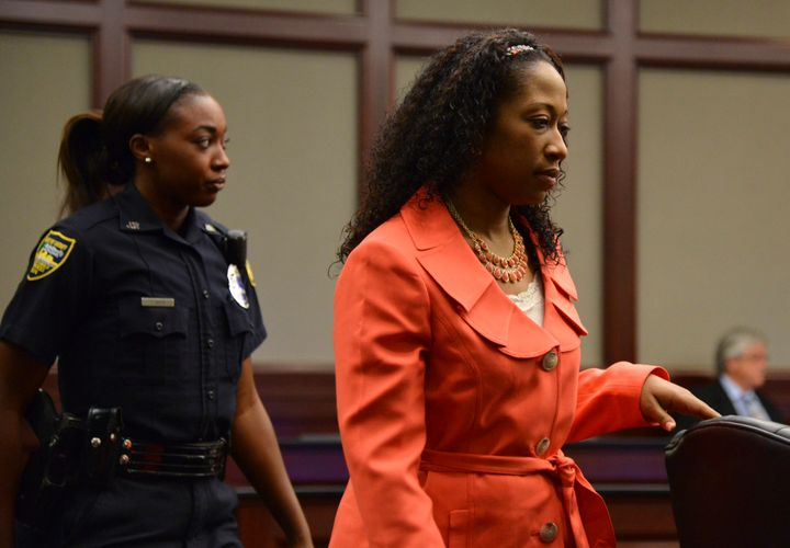 Marissa Alexander enters the courtroom in the Duval County Courthouse in Jacksonville, Florida, on June 10, 2014.She wa