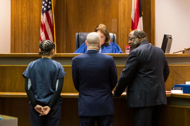 Bresha Meadows, left, at a court hearing in Warren, Ohio, on Jan. 20, 2016. Meadows killed her father after what she and her siblings say was years of abuse. The #FreeBresha campaign successfully advocated against Meadows being tried as an adult.