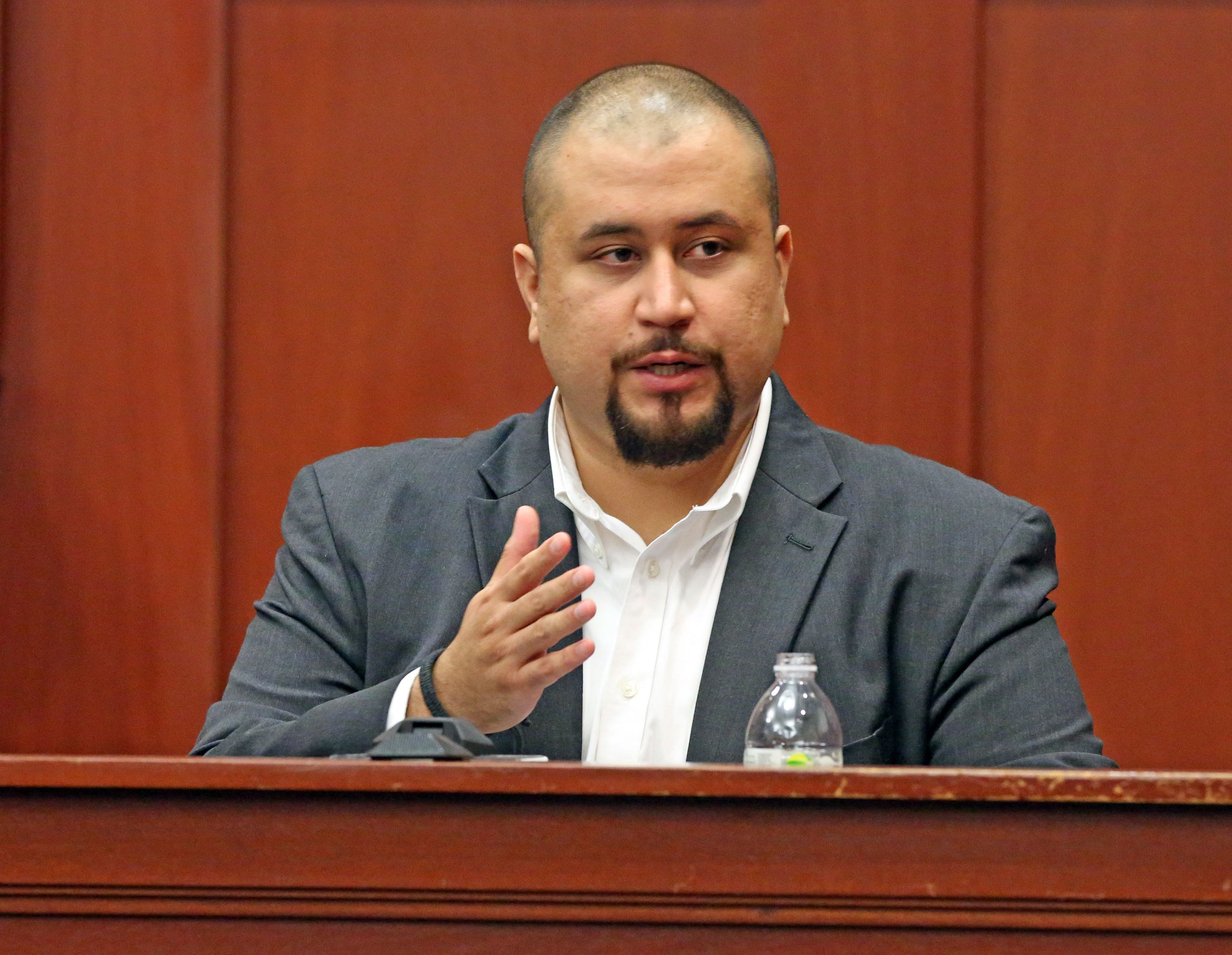 George Zimmerman looks at the jury as he testifies in a Seminole County courtroom Tuesday, Sept. 13, 2016 during the trial of Matthew Apperson, who is accused of trying to kill Zimmerman by shooting into his truck during a road rage dispute on Lake Mary Boulevard last year. (Red Huber/Orlando Sentinel/TNS via Getty Images)