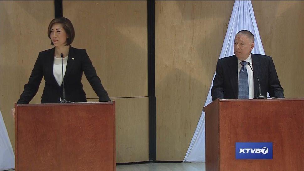 Jordan and A.J. Balukoff at their May 1 Democratic gubernatorial debate.