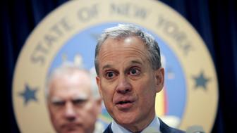 New York Attorney General Eric Schneiderman speaks at a news conference with other U.S. State Attorney's General to announce a state-based effort to combat climate change in the Manhattan borough of New York City, March 29, 2016. REUTERS/Mike Segar