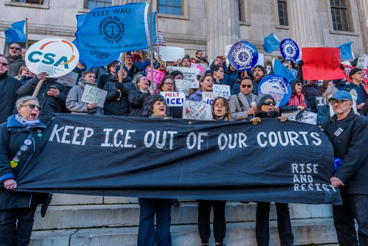 The Association of Legal Aid Attorneys, along with dozens of union and immigrant rights organizations, held a rally on Dec. 7