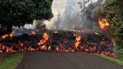 하와이 킬라우에아 화산 용암이 차를