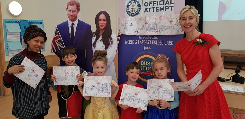 Pupils at Upton House School dressed up as princes, princesses or in red, white or blue. They all took part in the Guinness World Record Attempt to create the longest card for the couple.