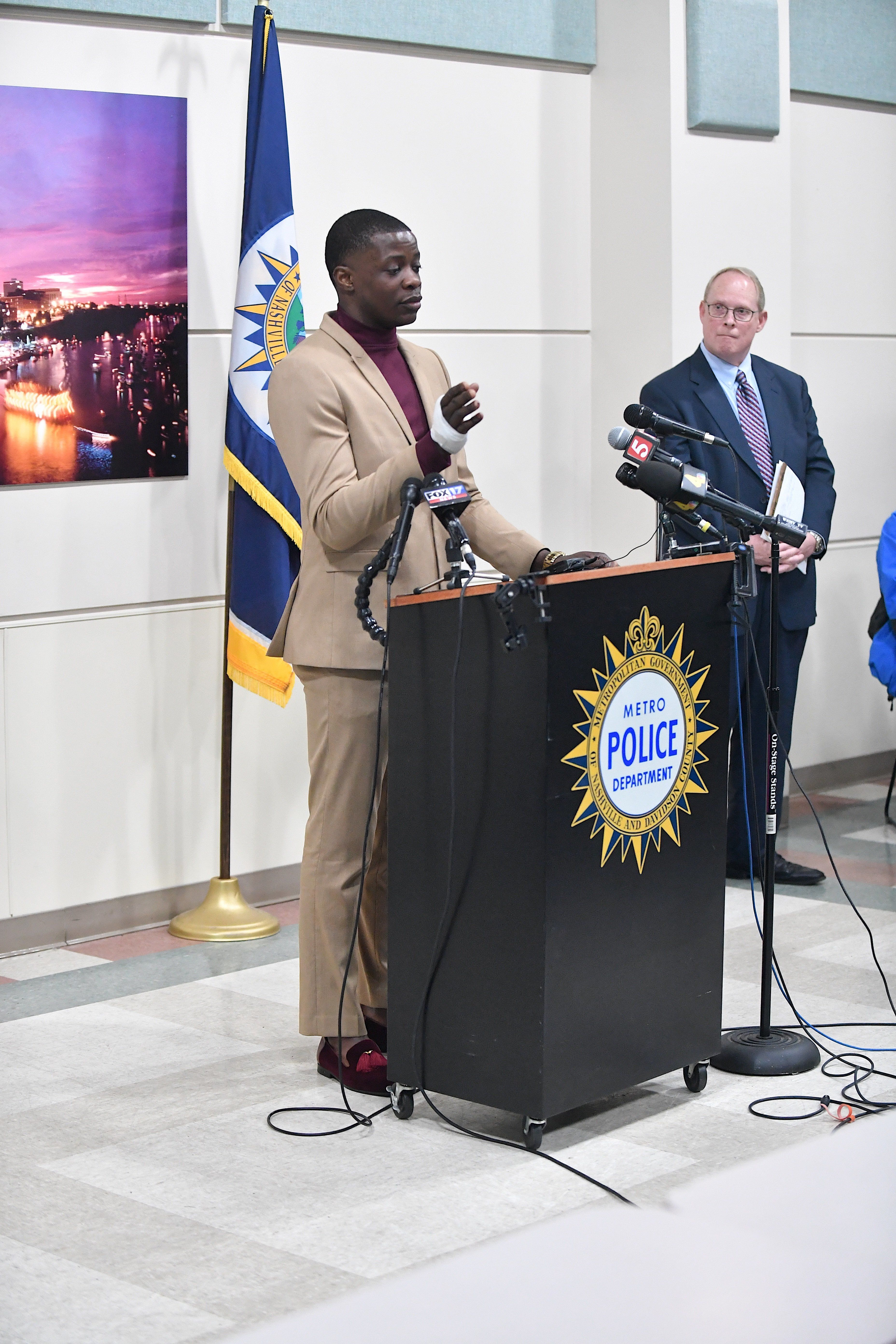 NASHVILLE, TN - APRIL 22:  Waffle House patron James Shaw, Jr. discusses the shooting at a Waffle House where a gunman opened fire killing four and injuring two at a press conference on April 22, 2018 in Nashville, Tennessee. . Shaw, Jr., 29,  took action disarming the gunman and ultimately forcing him out of the Waffle House restaurant. Travis Reinking, 29, of Morton, IL, is person of interest in the shooting and is suspected to have left the scene naked. (Photo by Jason Davis/Getty Images)