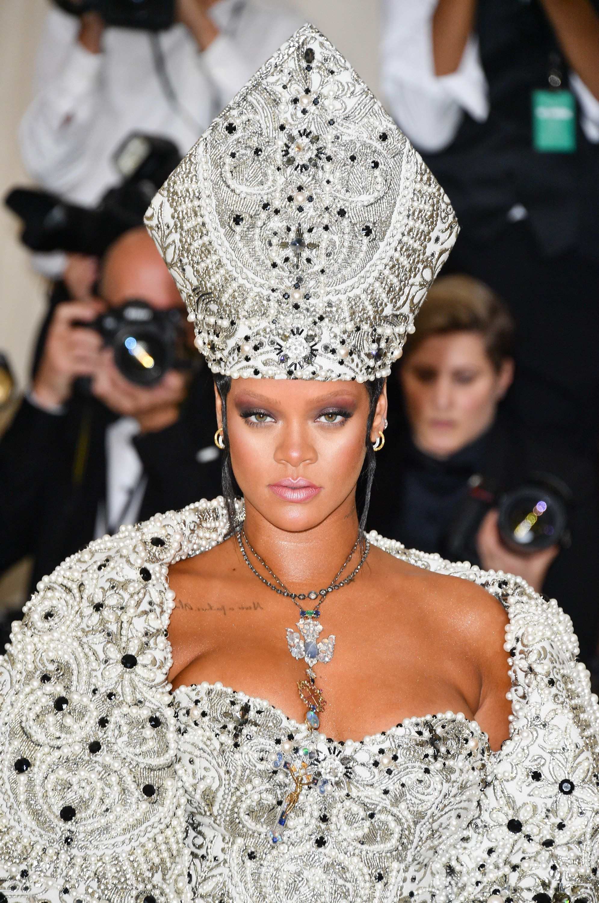 Rihanna attends the Heavenly Bodies: Fashion & The Catholic Imagination Costume Institute Gala at...