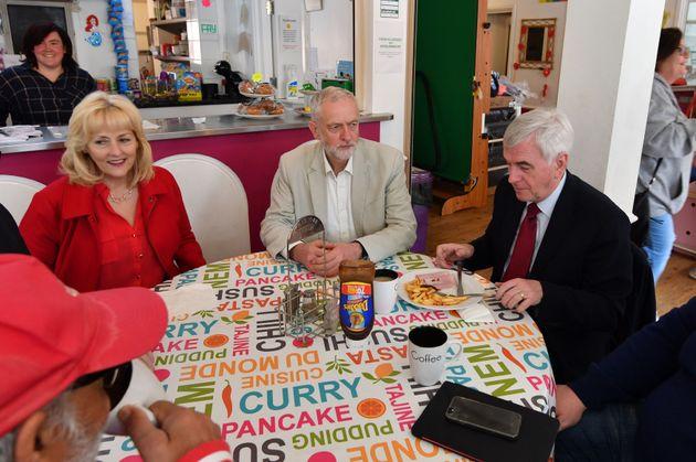 Jennie Formby, Jeremy Corbyn and John McDonnell on the campaign