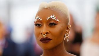 """Actress Cynthia Erivo arrives at the Metropolitan Museum of Art Costume Institute Gala (Met Gala) to celebrate the opening of """"Heavenly Bodies: Fashion and the Catholic Imagination"""" in the Manhattan borough of New York, U.S., May 7, 2018. REUTERS/Eduardo Munoz"""