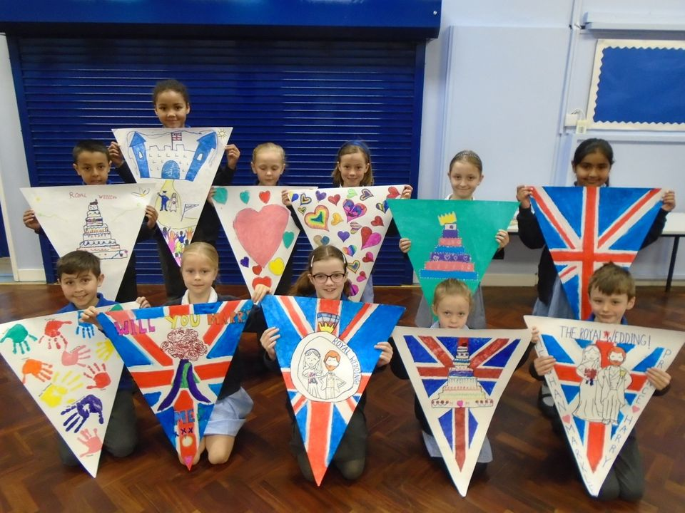 Pupils at Hilltop Primary School with their bunting.
