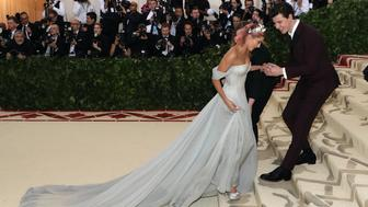 NEW YORK, NY - MAY 07:  Shawn Mendes and Hailey Baldwin attend 'Heavenly Bodies: Fashion & the Catholic Imagination', the 2018 Costume Institute Benefit at Metropolitan Museum of Art on May 7, 2018 in New York City.  (Photo by Taylor Hill/Getty Images)