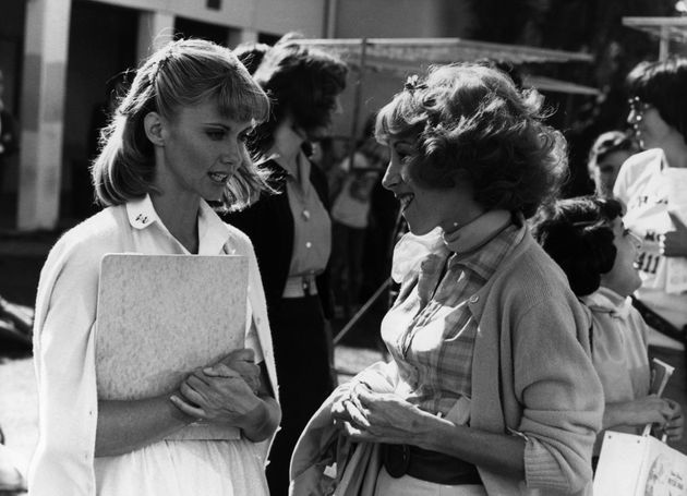 Olivia Newton-John and Didi Conn behind the scenes of 'Grease' in