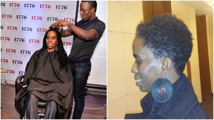 Left, Alyscia Cunningham gets her hair cut for charity in 2013. Right, Cunningham with short hair.