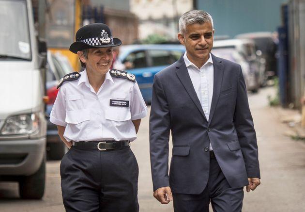 Mayor of London Sadiq Khan with Metropolitan Police Commissioner Cressida Dick arrive at a new knife...
