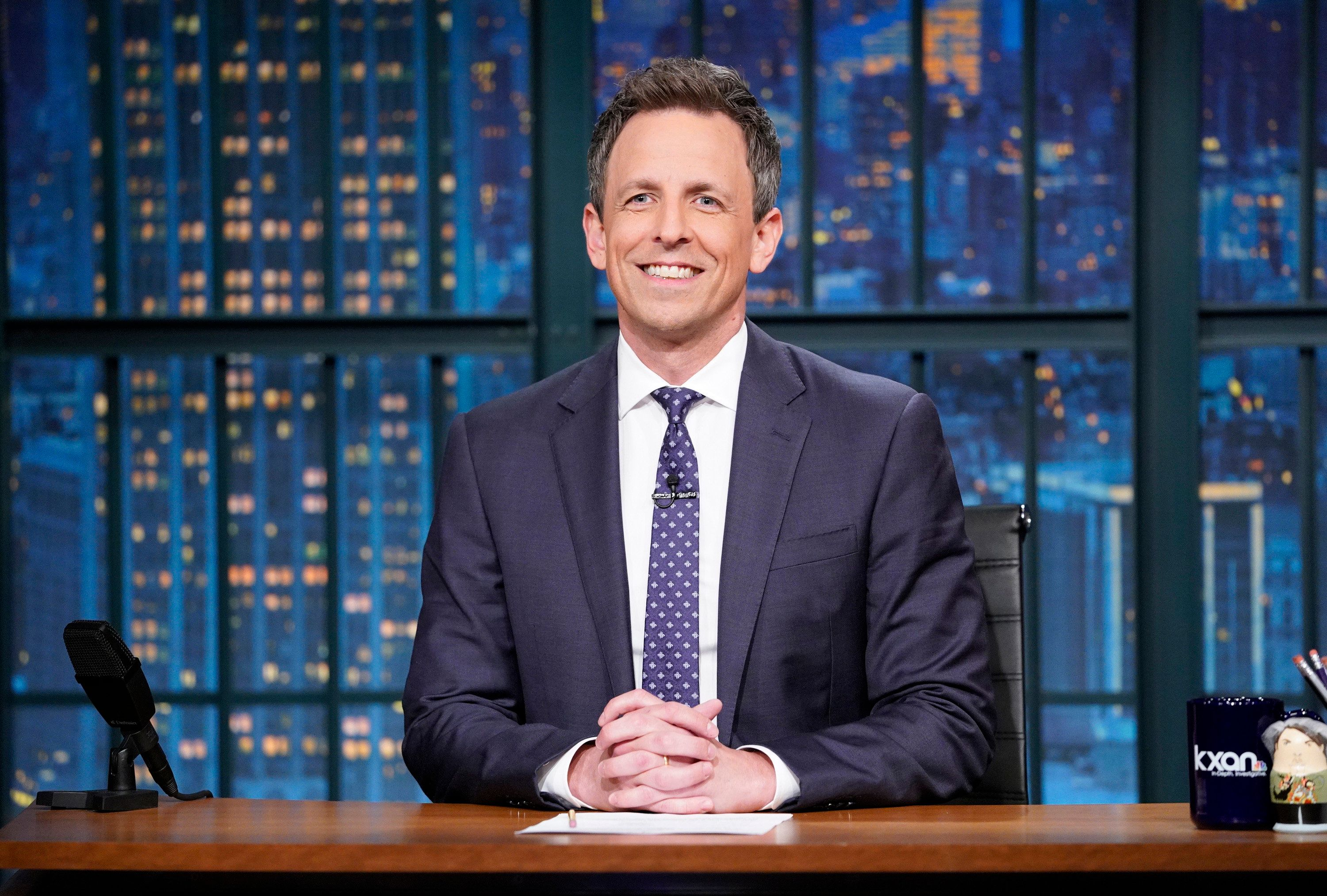 LATE NIGHT WITH SETH MEYERS -- Episode 682 -- Pictured: Host Seth Meyers at his desk on May 7, 2018 -- (Photo by: Lloyd Bishop/NBC/NBCU Photo Bank via Getty Images)