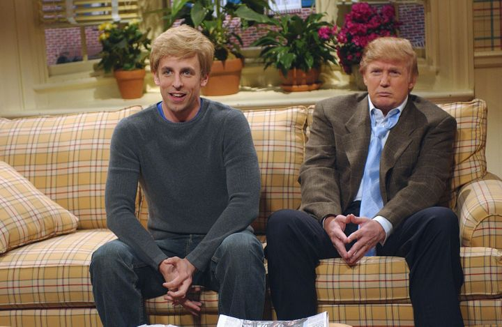 "Seth Meyers as Peter Fleck and Donald Trump as Gary Fleck on ""Saturday Night Live"" in 2004."