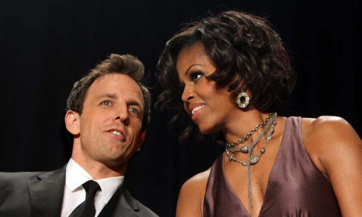 Seth Meyers has a word with Michelle Obama at the 2011 White House Correspondents' Association dinner