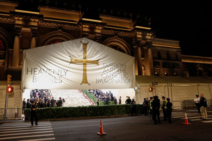 "The arrivals area for the Metropolitan Museum of Art Costume Institute Gala to celebrate the opening of ""Heavenly Bodies: Fas"