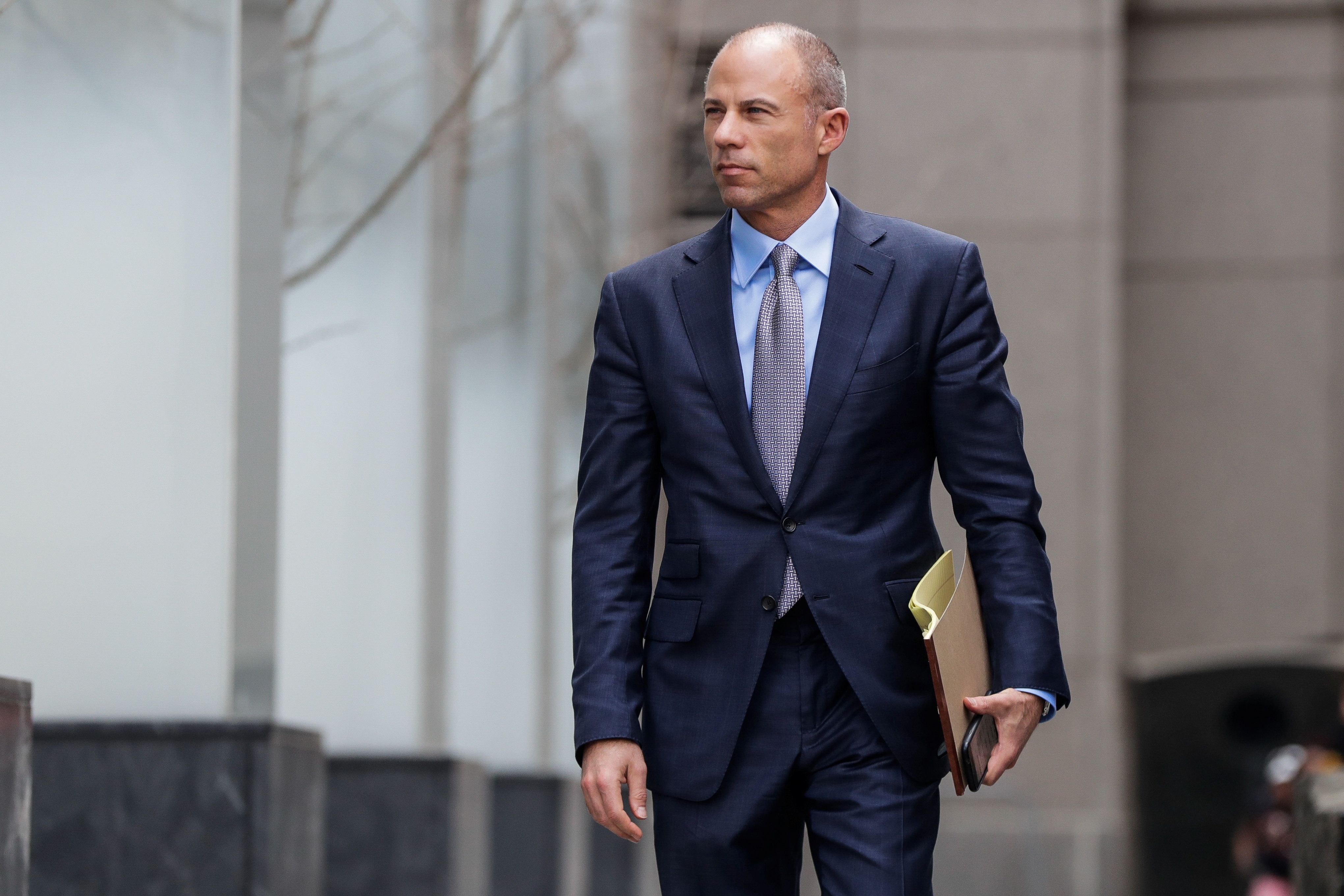 Michael Avenatti, attorney for Stormy Daniels, is pictured outside the Manhattan Federal Court in New York City on April 13,