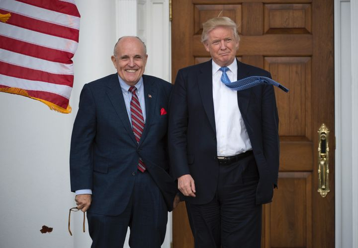 Rudy Giuliani and Donald Trump at the Trump National Golf Club in November 2016.