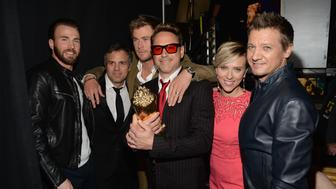 LOS ANGELES, CA - APRIL 12:  (L-R) Actors Chris Evans, Mark Ruffalo, Chris Hemsworth, Robert Downey Jr., Scarlett Johansson and Jeremy Renner pose backstage at The 2015 MTV Movie Awards at Nokia Theatre L.A. Live on April 12, 2015 in Los Angeles, California.  (Photo by Kevin Mazur/MTV1415/WireImage)